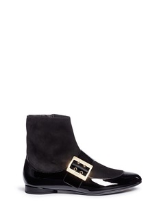 Lanvin Patent leather panel suede boots