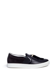Lanvin Faux pearl tassel leather and suede slip-ons