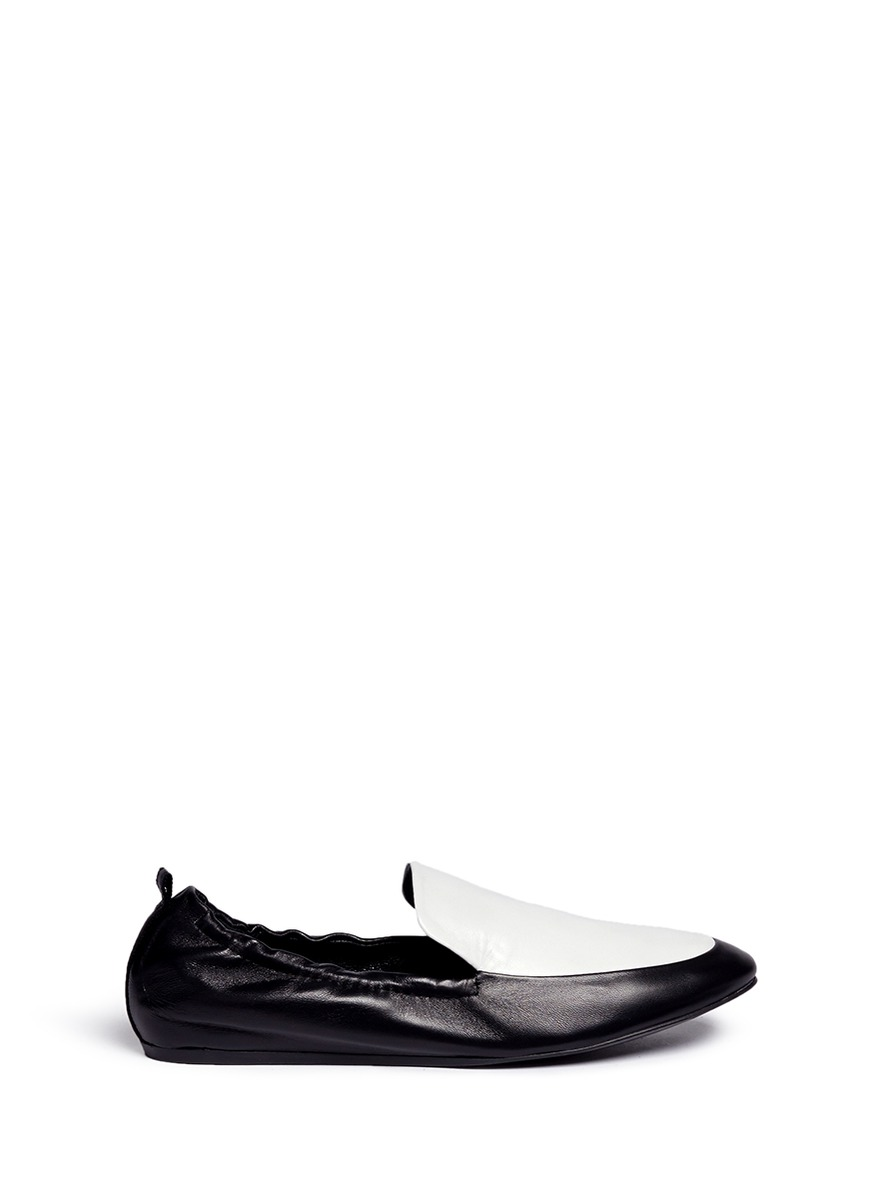 Colourblock leather loafer slippers by Lanvin