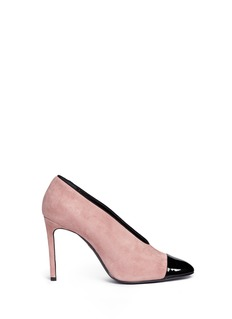 Lanvin Patent toe cap U-throat suede pumps
