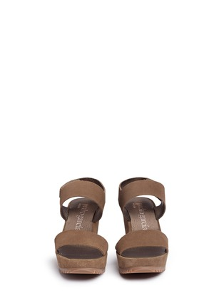 Front View - Click To Enlarge - Pedro García - 'Fiona' suede platform wedge sandals