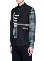 Check plaid patchwork cotton shirt