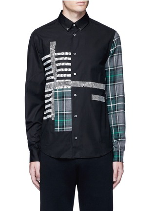 Main View - Click To Enlarge - McQ Alexander McQueen - Check plaid patchwork cotton shirt