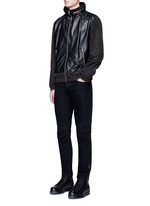 Nylon sleeve leather jacket