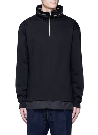 Main View - Click To Enlarge - McQ Alexander McQueen - Drawstring nylon hem sweatshirt