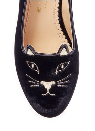 Detail View - Click To Enlarge - Charlotte Olympia Kids - 'Incy Kitty' velvet toddler flats