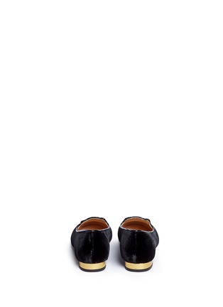 Back View - Click To Enlarge - Charlotte Olympia Kids - 'Incy Kitty' velvet toddler flats