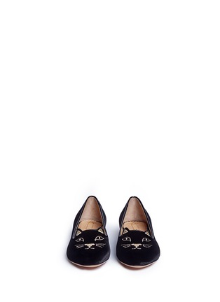 Figure View - Click To Enlarge - Charlotte Olympia Kids - 'Incy Kitty' velvet toddler flats