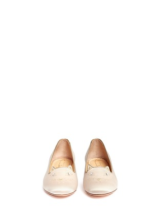 Figure View - Click To Enlarge - Charlotte Olympia Kids - 'Incy Kitty' satin toddler slip-ons