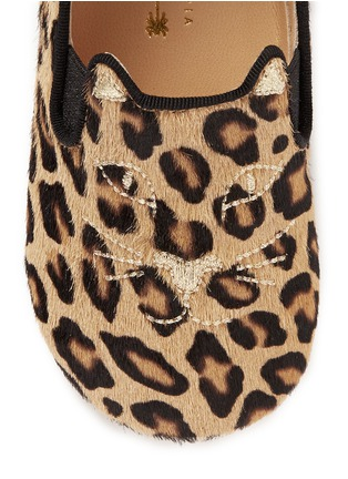 Detail View - Click To Enlarge - Charlotte Olympia Kids - 'Kitten' leopard print calfhair infant slip-ons