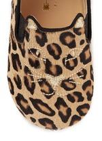 'Kitten' leopard print calfhair infant slip-ons