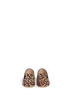Charlotte Olympia'Kitten' leopard print calfhair infant slip-ons