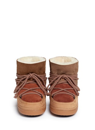 Front View - Click To Enlarge - INUIKII - 'Classic Patchwork' sheepskin shearling boots