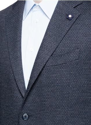Detail View - Click To Enlarge - Lardini - Dot jacquard cotton-wool jersey soft blazer