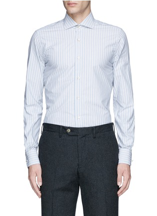 Main View - Click To Enlarge - Lardini - Diamond stripe jacquard cotton shirt