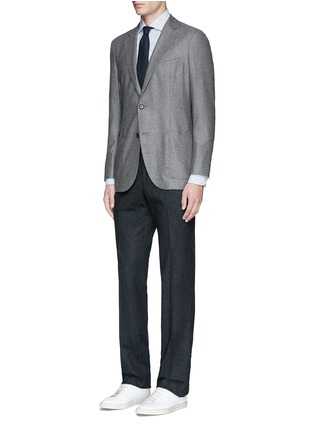 Figure View - Click To Enlarge - Lardini - Diamond stripe jacquard cotton shirt