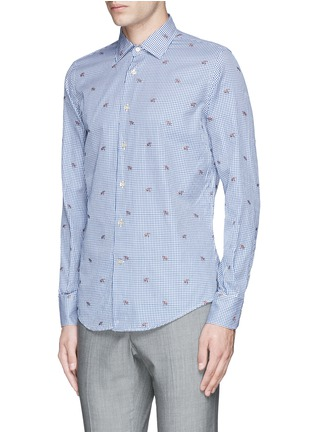 Front View - Click To Enlarge - Lardini - Fox jacquard gingham check shirt