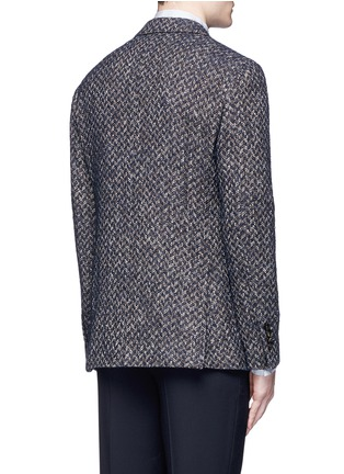 Back View - Click To Enlarge - Lardini - 'Specialine' chevron stripe wool-cotton bouclé soft blazer