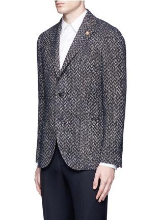 Front View - Click To Enlarge - Lardini - 'Specialine' chevron stripe wool-cotton bouclé soft blazer