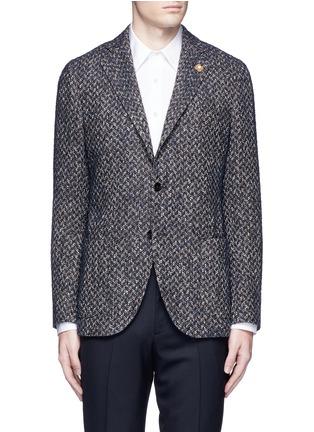 Main View - Click To Enlarge - Lardini - 'Specialine' chevron stripe wool-cotton bouclé soft blazer