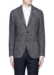 Lardini'Specialine' chevron stripe wool-cotton bouclé soft blazer
