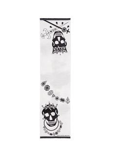 Alexander McQueenKing and queen skull jacquard scarf