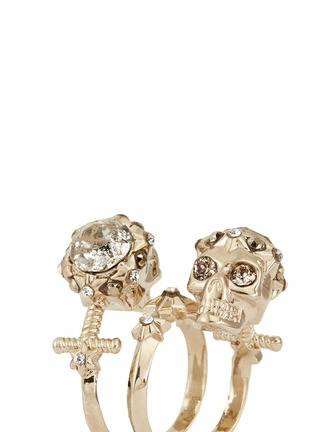 Detail View - Click To Enlarge - Alexander McQueen - Star dust twin skull spiral ring