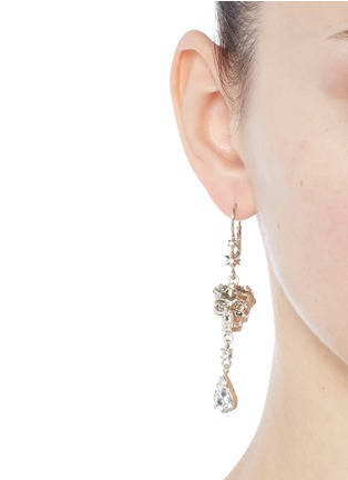 Figure View - Click To Enlarge - Alexander McQueen - Swarovski crystals royal skull drop earrings