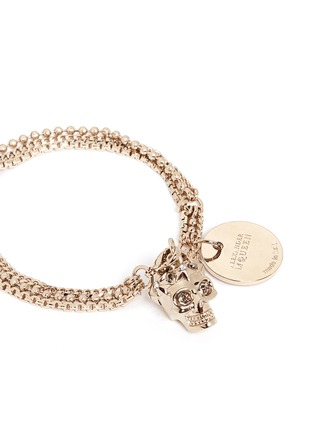 Detail View - Click To Enlarge - Alexander McQueen - Swarovski crystals royal skull triple chain bracelet