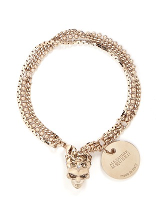 Main View - Click To Enlarge - Alexander McQueen - Swarovski crystals royal skull triple chain bracelet