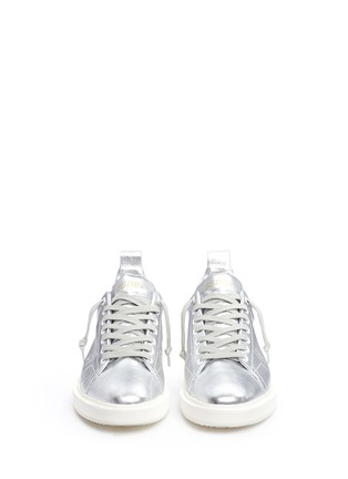 Front View - Click To Enlarge - Golden Goose - 'Starter' metallic leather sneakers