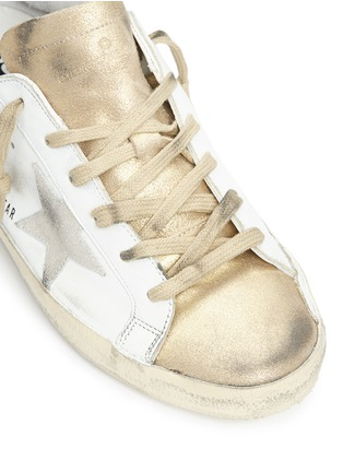 Detail View - Click To Enlarge - Golden Goose - 'Superstar' distressed metallic suede leather sneakers