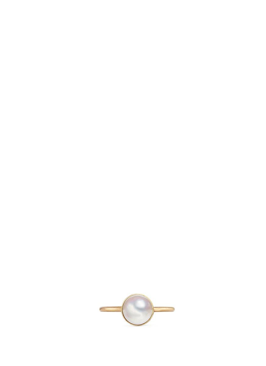 shihara female half pearl 0deg 18k yellow gold ring