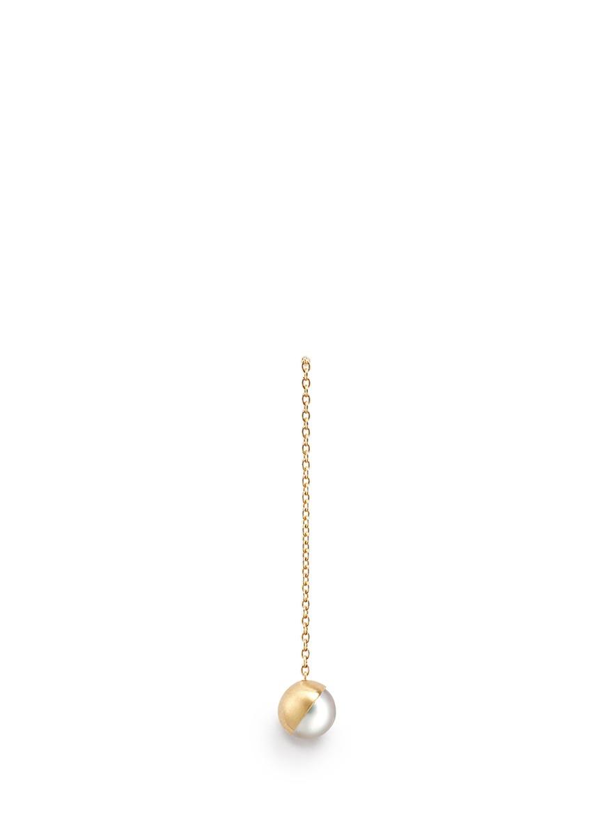 Half Pearl 45° akoya pearl 18k yellow gold single earring by Shihara