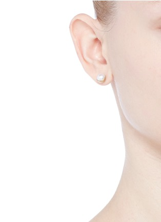 Shihara-'Half Pearl 45°' Akoya pearl 18k yellow gold single stud earring