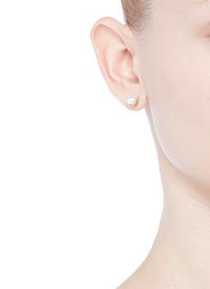 Shihara'Half Pearl 45°' Akoya pearl 18k yellow gold single stud earring