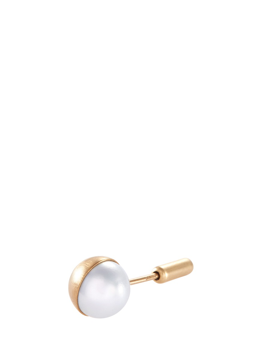 Half Pearl 90° Akoya pearl 18k yellow gold stud single earring by Shihara