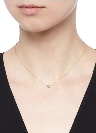 Detail View - Click To Enlarge - Shihara - 'One Stone' diamond 18k yellow gold necklace