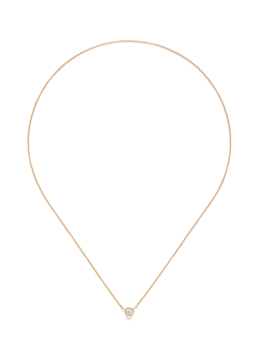 One Stone diamond 18k yellow gold necklace by Shihara
