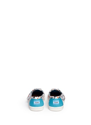 Back View - Click To Enlarge -  - Tiny Classic toucan print canvas toddler slip-ons