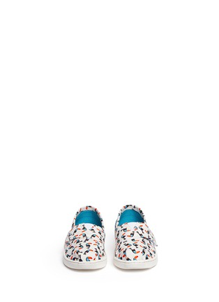 Figure View - Click To Enlarge -  - Tiny Classic toucan print canvas toddler slip-ons