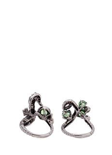 Wendy Yue Diamond tsavorite sapphire 18k white gold seahorse ring