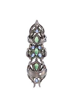 Wendy Yue Diamond sapphire tsavorite 18k white gold full finger ring