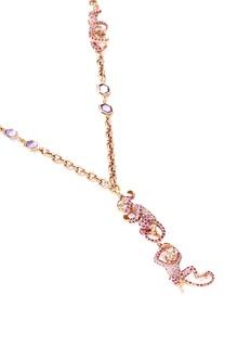 Wendy Yue Diamond sapphire 18k rose gold monkey pendant necklace