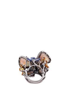 Wendy Yue Diamond sapphire opal tsavorite 18k white gold butterfly ring