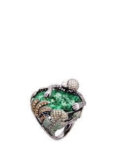 Wendy Yue Diamond sapphire jade 18k white gold monkey ring