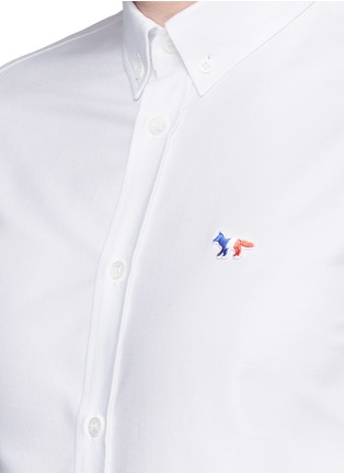 Detail View - Click To Enlarge - Maison Kitsuné - Fox logo embroidery cotton Oxford shirt