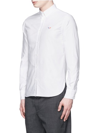 Front View - Click To Enlarge - Maison Kitsuné - Fox logo embroidery cotton Oxford shirt