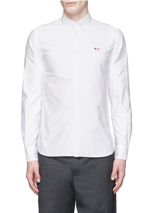 Main View - Click To Enlarge - Maison Kitsuné - Fox logo embroidery cotton Oxford shirt