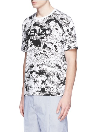 Front View - Click To Enlarge - KENZO - Cartoon desert print T-shirt